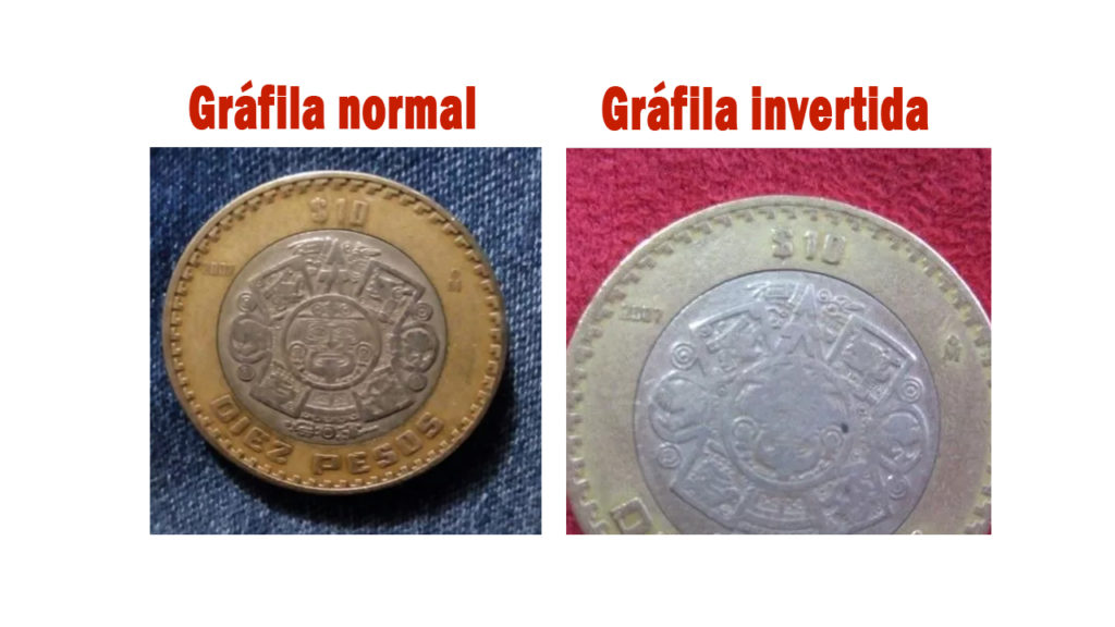grafila invertida moneda de 10 pesos que vale 1000 pesos