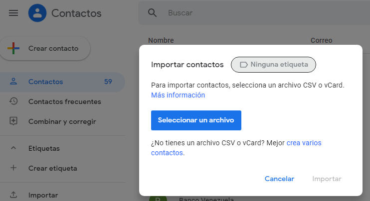 importar contactos de google