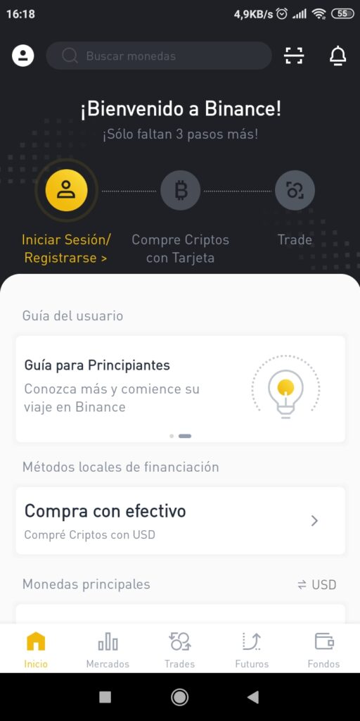 binance registro