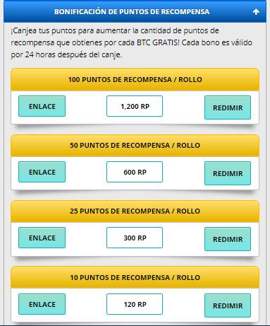 bonificacion de puntos de recompensa freebitcoin