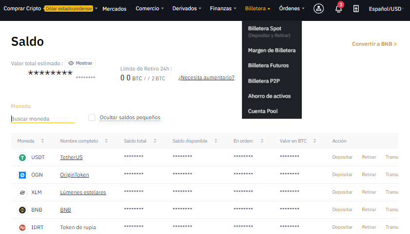 saldos en binance