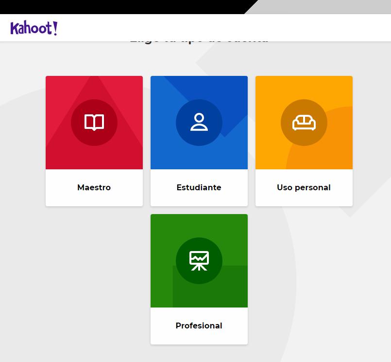 Kahoot, crear, cuenta, test
