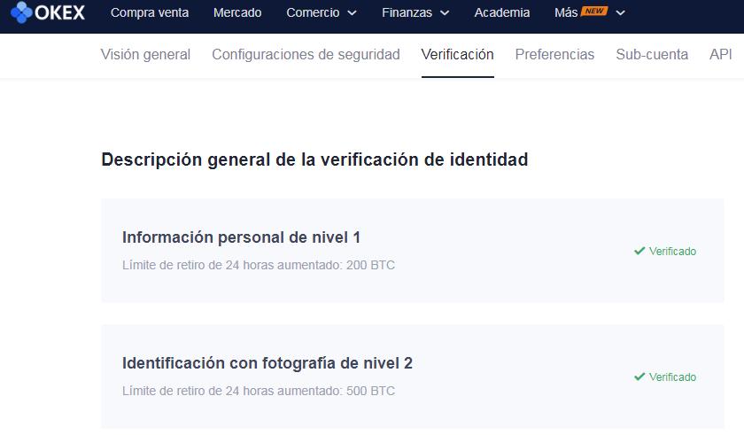 verificacion de identidad okex